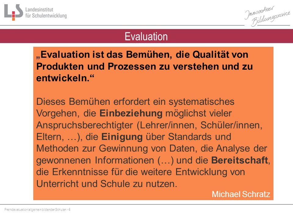 Fremdevaluation allgemein bildender Schulen - 15 PE Personal- entwicklung Qualitätsmanagement OE Organisations- entwicklung UE Unterrichts- entwicklung Schulkonzept