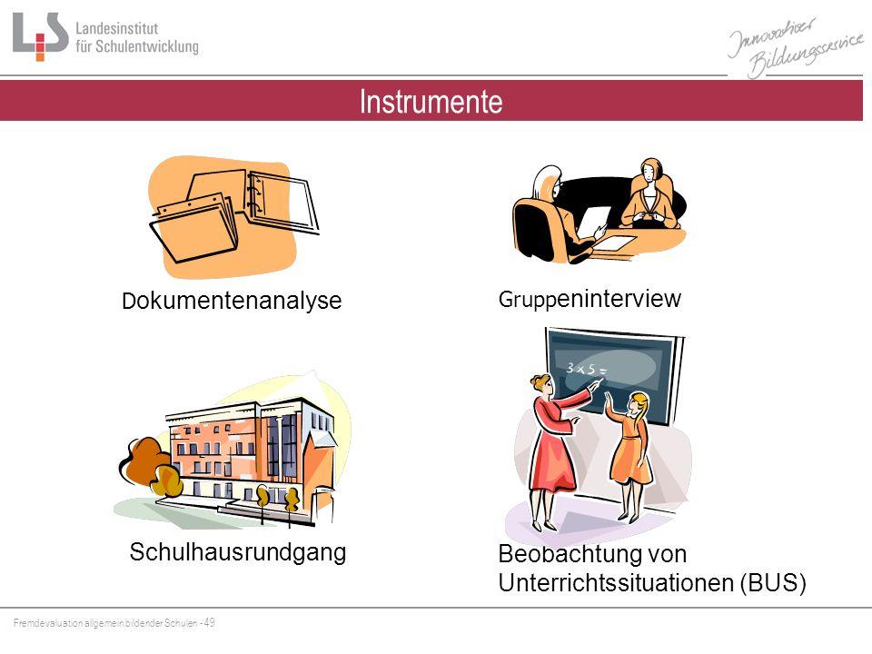 Fremdevaluation allgemein bildender Schulen - 49 Instrumente der FEV D okumentenanalyse Grupp eninterview Beobachtung von Unterrichtssituationen (BUS)