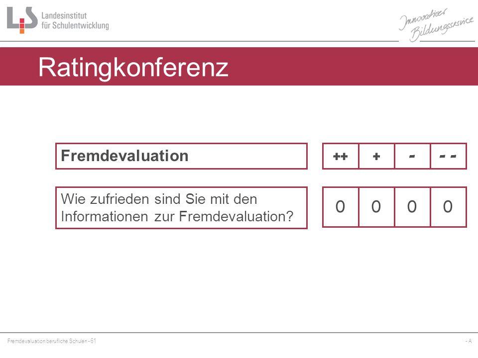 Fremdevaluation berufliche Schulen - 61- A Ratingkonferenz Fremdevaluation Wie zufrieden sind Sie mit den Informationen zur Fremdevaluation? - -+++ 00