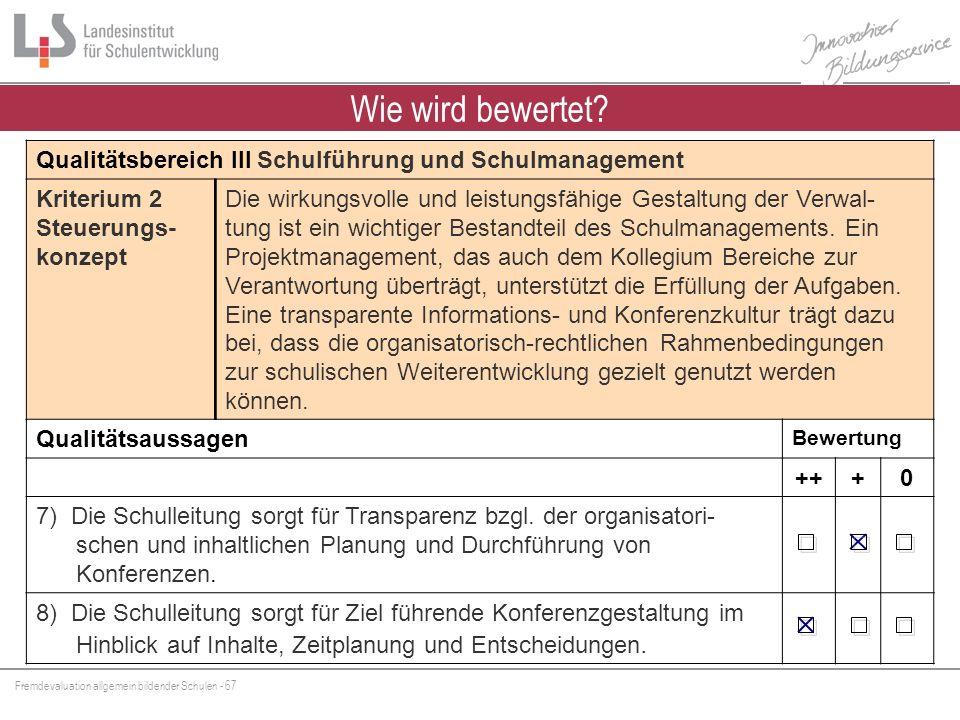Fremdevaluation allgemein bildender Schulen - 67 Wie wird bewertet? Qualitätsbereich III Schulführung und Schulmanagement Kriterium 2 Steuerungs- konz