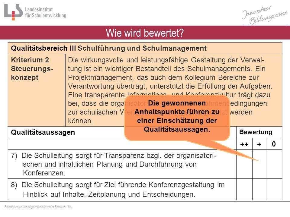 Fremdevaluation allgemein bildender Schulen - 68 Wie wird bewertet? Qualitätsbereich III Schulführung und Schulmanagement Kriterium 2 Steuerungs- konz