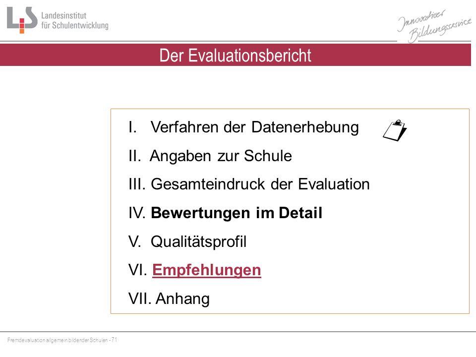 Fremdevaluation allgemein bildender Schulen - 71 I. Verfahren der Datenerhebung II. Angaben zur Schule III. Gesamteindruck der Evaluation IV. Bewertun