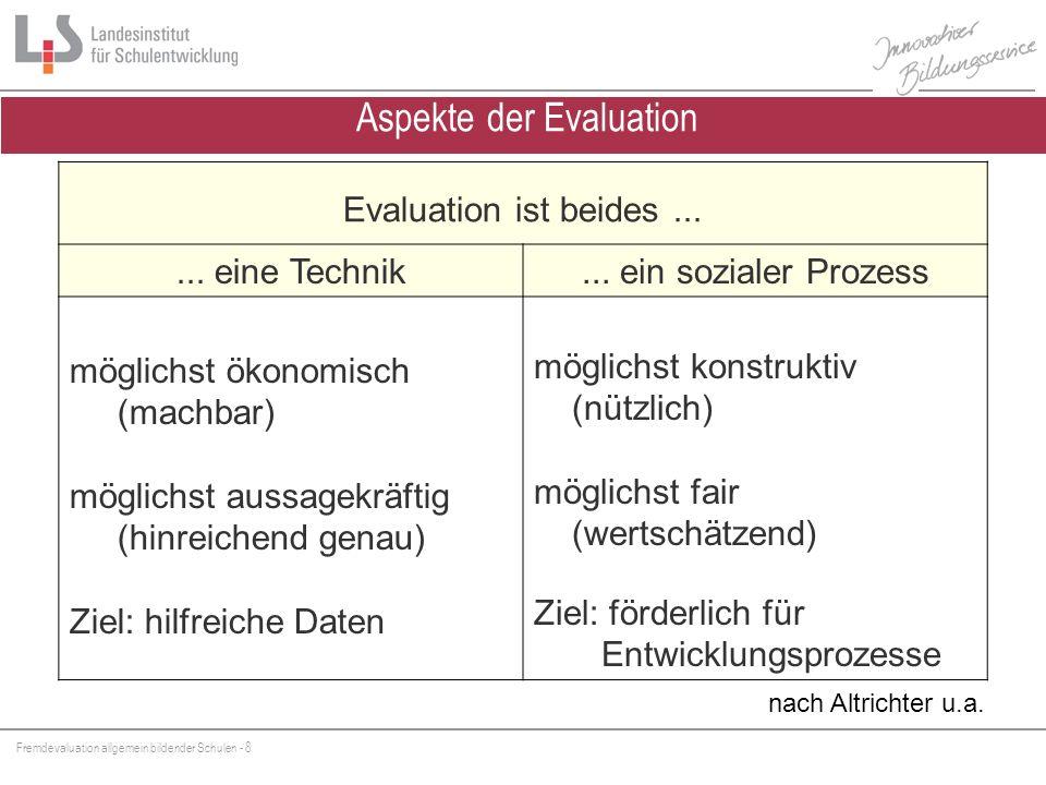 Fremdevaluation allgemein bildender Schulen - 8 Evaluation ist beides...... eine Technik... ein sozialer Prozess möglichst ökonomisch (machbar) möglic
