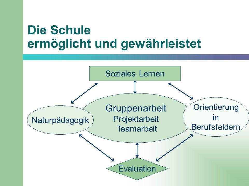 Die Schule ermöglicht und gewährleistet Soziales Lernen Gruppenarbeit Projektarbeit Teamarbeit Evaluation Naturpädagogik Orientierung in Berufsfeldern