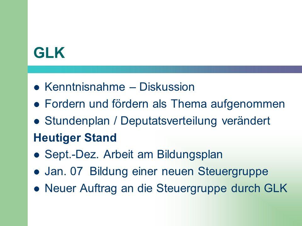GLK Kenntnisnahme – Diskussion Fordern und fördern als Thema aufgenommen Stundenplan / Deputatsverteilung verändert Heutiger Stand Sept.-Dez. Arbeit a