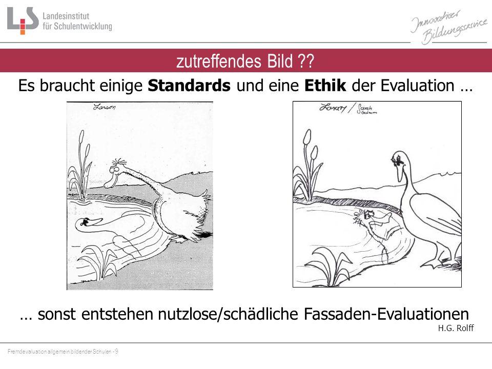 Fremdevaluation allgemein bildender Schulen - 10 Feedback (subjektiv) individuelles Lernen Evaluation (kriteriengeleitet) institutionelles Lernen Feedback und Evaluation
