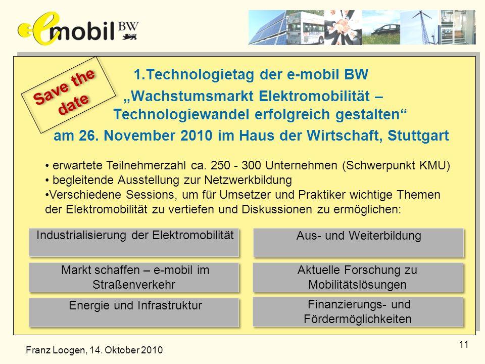 1.Technologietag der e-mobil BW Wachstumsmarkt Elektromobilität – Technologiewandel erfolgreich gestalten am 26. November 2010 im Haus der Wirtschaft,