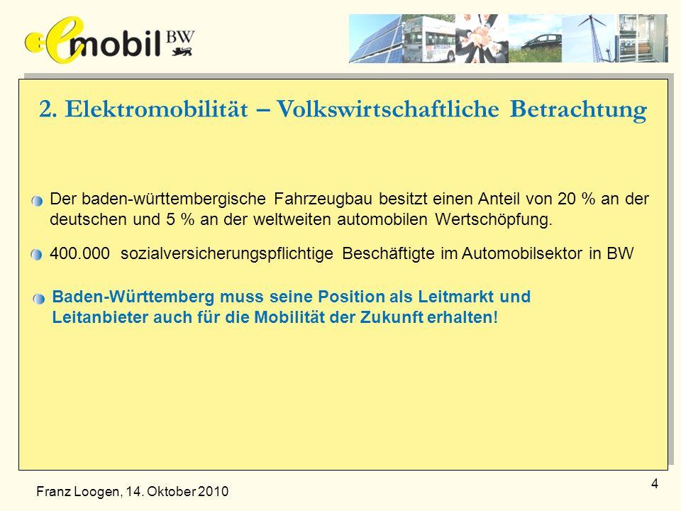 4 2. Elektromobilität – Volkswirtschaftliche Betrachtung Der baden-württembergische Fahrzeugbau besitzt einen Anteil von 20 % an der deutschen und 5 %