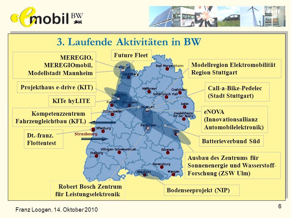6 3. Laufende Aktivitäten in BW Modellregion Elektromobilität Region Stuttgart MEREGIO, MEREGIOmobil, Modellstadt Mannheim Call-a-Bike-Pedelec (Stadt