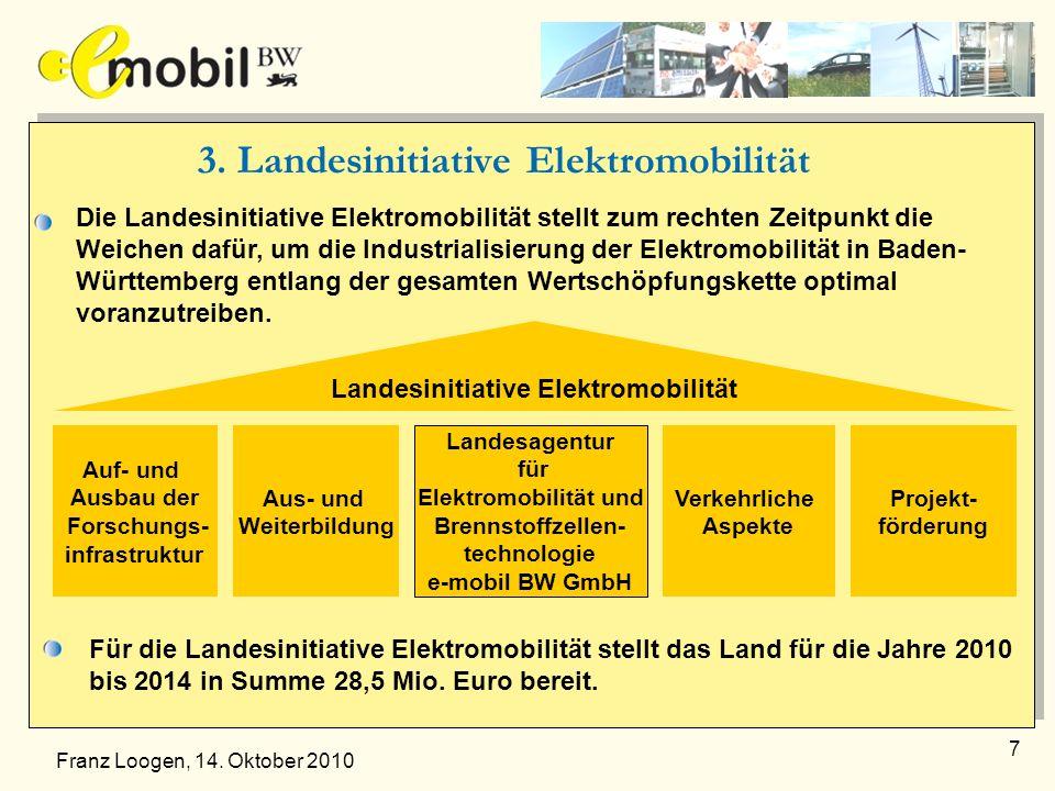7 3. Landesinitiative Elektromobilität Die Landesinitiative Elektromobilität stellt zum rechten Zeitpunkt die Weichen dafür, um die Industrialisierung