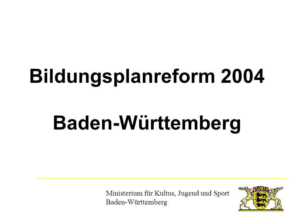 Bildungsplanreform 2004 Bildungsplanreform 2004 KerncurriculaKompetenzerwerb Fachkompetenz Methodenkompetenz Sozialkompetenz Personale Kompetenz werden an unterrichtlichen Gegebenheiten erworben....