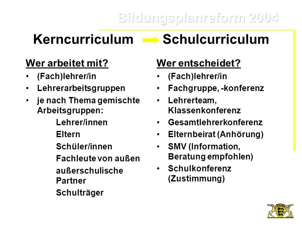 Bildungsplanreform 2004 Bildungsplanreform 2004 Kerncurriculum Schulcurriculum Wer arbeitet mit? (Fach)lehrer/in Lehrerarbeitsgruppen je nach Thema ge