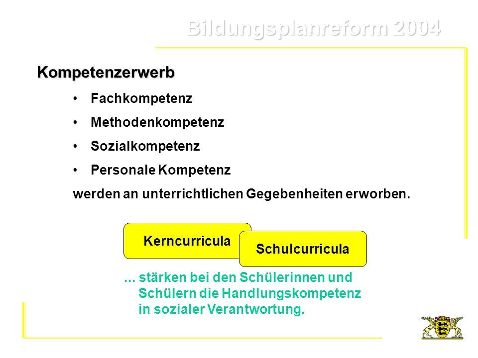 Bildungsplanreform 2004 Bildungsplanreform 2004 KerncurriculaKompetenzerwerb Fachkompetenz Methodenkompetenz Sozialkompetenz Personale Kompetenz werde