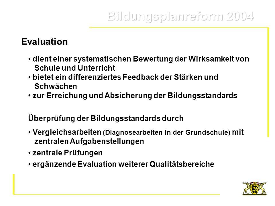 Bildungsplanreform 2004 Bildungsplanreform 2004 dient einer systematischen Bewertung der Wirksamkeit von Schule und Unterricht bietet ein differenzier