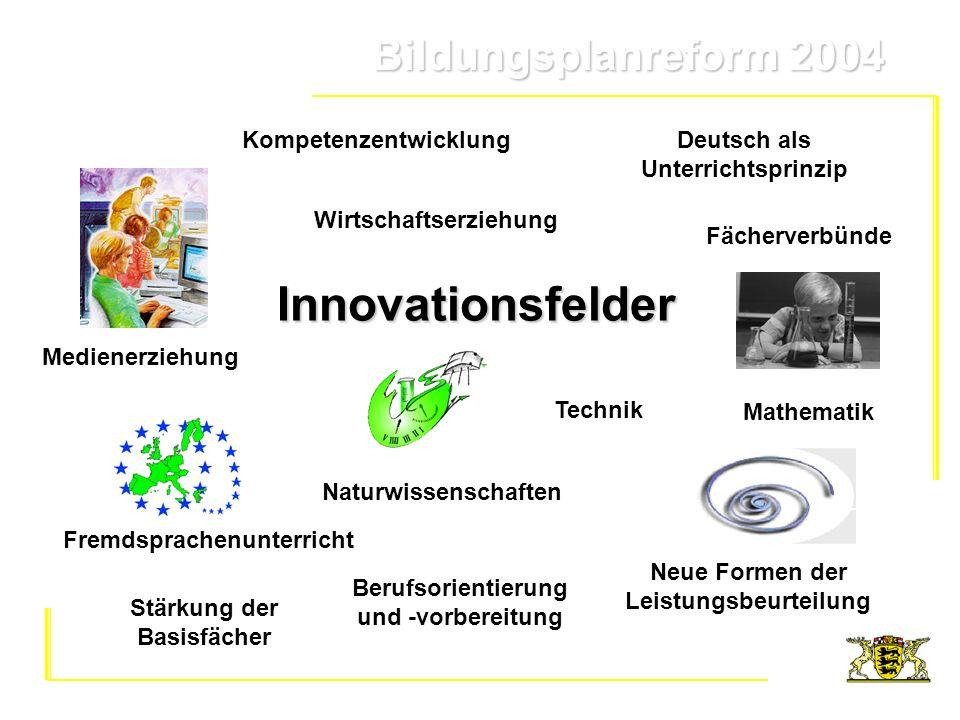 Bildungsplanreform 2004 Bildungsplanreform 2004 Fremdsprachenunterricht Berufsorientierung und -vorbereitung Naturwissenschaften Medienerziehung Techn