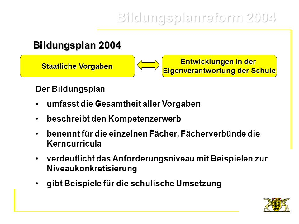 Bildungsplanreform 2004 Bildungsplanreform 2004Bildungsstandards beschreiben fachliche und überfachliche Kompetenzen für das Ende eines Bildungsabschnitts Grundschule (Klassenstufen 2, 4) Hauptschule/Werkrealschule (Klassenstufen 6, 9, 10) Realschule (Klassenstufen 6, 8, 10) Gymnasium (Klassenstufen 6, 8, 10, 12) schließen das Kerncurriculum und das Schulcurriculum des jeweiligen Faches bzw.