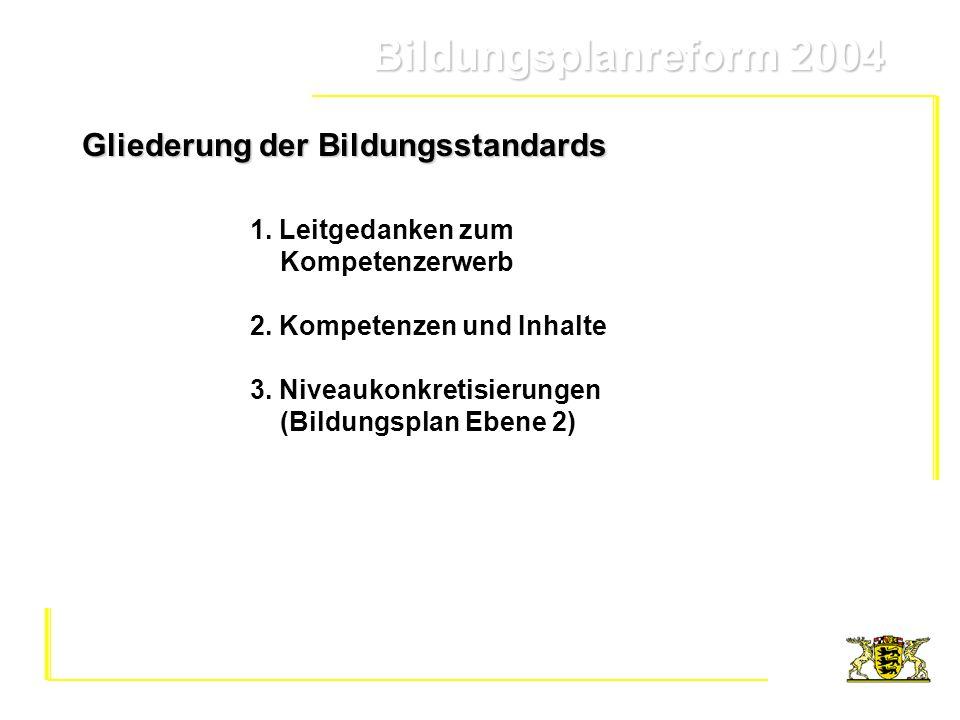 Bildungsplanreform 2004 Bildungsplanreform 2004 Gliederung der Bildungsstandards 1. Leitgedanken zum Kompetenzerwerb 2. Kompetenzen und Inhalte 3. Niv
