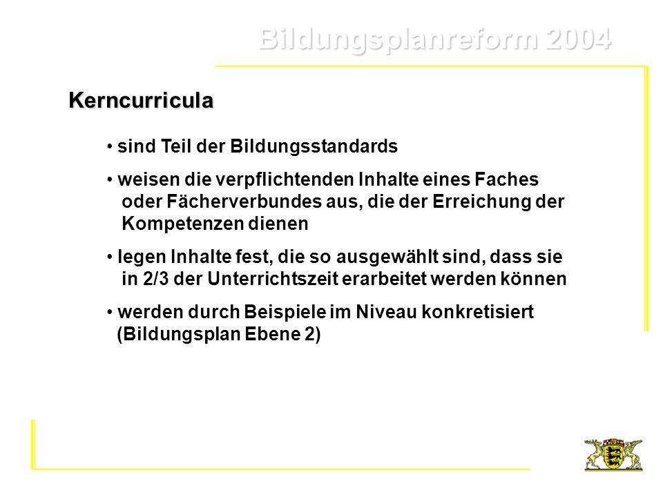 Bildungsplanreform 2004 Bildungsplanreform 2004Kerncurricula sind Teil der Bildungsstandards weisen die verpflichtenden Inhalte eines Faches oder Fäch
