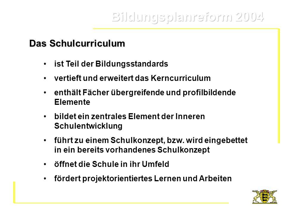 Bildungsplanreform 2004 Bildungsplanreform 2004 Kerncurriculum und Schulcurriculum profil- bildende Elemente Fächer übergreifende Elemente weitere Bausteine aus Schulkonzept Leitfragen / Leitaufträge aus Einleitung das Kerncurriculum vertiefende und ergänzende Teile