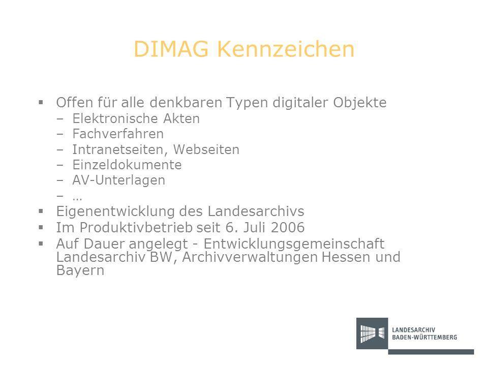 DIMAG Kennzeichen Offen für alle denkbaren Typen digitaler Objekte –Elektronische Akten –Fachverfahren –Intranetseiten, Webseiten –Einzeldokumente –AV