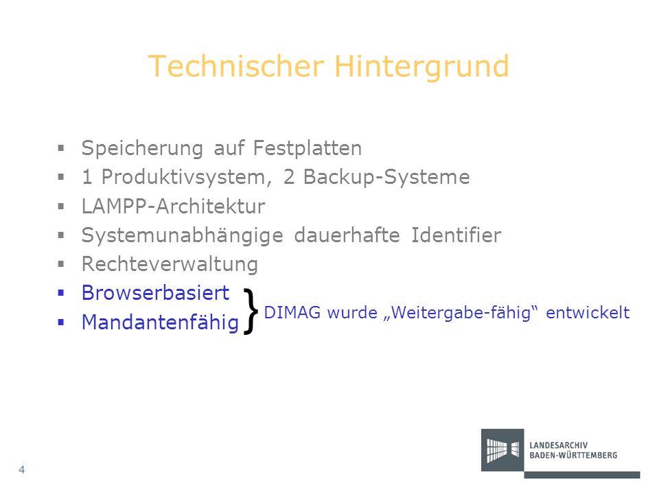 Technischer Hintergrund Speicherung auf Festplatten 1 Produktivsystem, 2 Backup-Systeme LAMPP-Architektur Systemunabhängige dauerhafte Identifier Rech