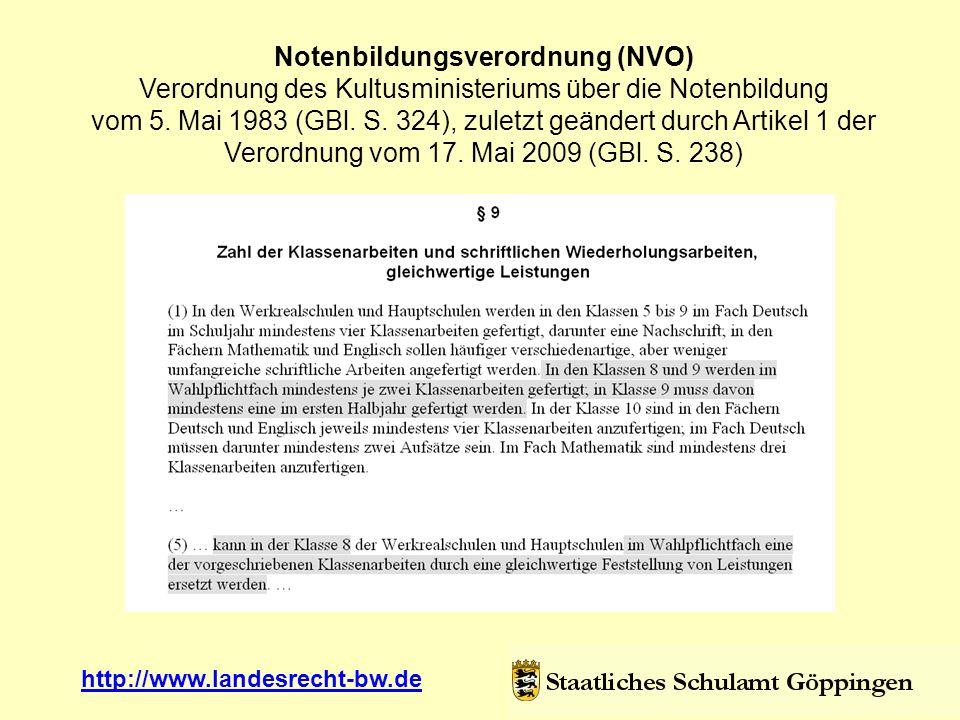 Notenbildungsverordnung (NVO) Verordnung des Kultusministeriums über die Notenbildung vom 5. Mai 1983 (GBl. S. 324), zuletzt geändert durch Artikel 1