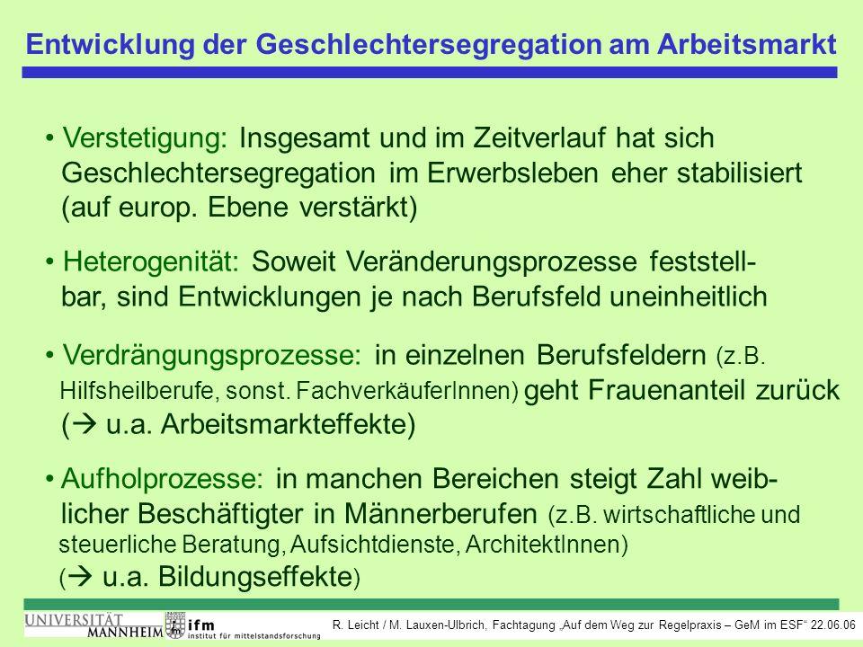 R. Leicht / M. Lauxen-Ulbrich, Fachtagung Auf dem Weg zur Regelpraxis – GeM im ESF 22.06.06 Entwicklung der Geschlechtersegregation am Arbeitsmarkt Ve