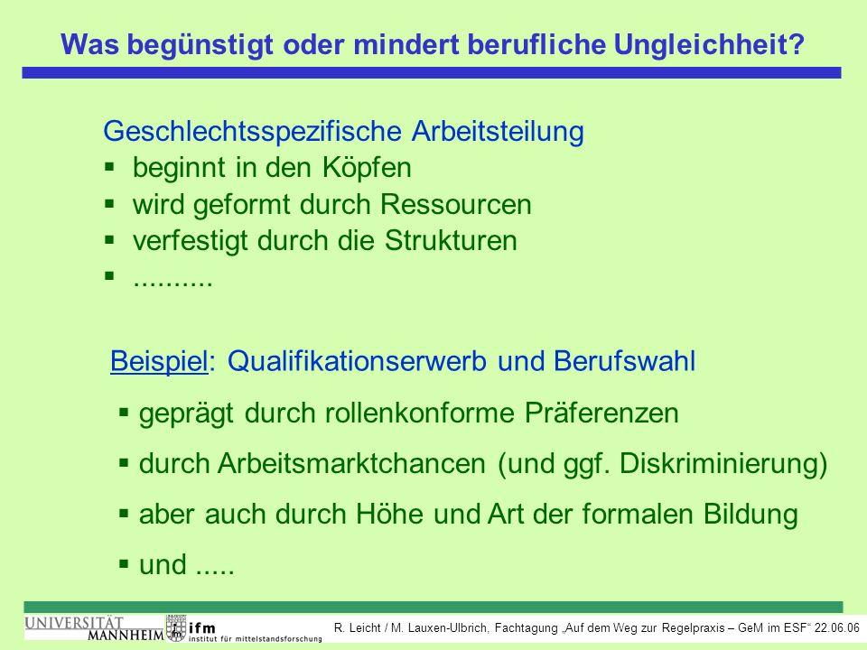 R. Leicht / M. Lauxen-Ulbrich, Fachtagung Auf dem Weg zur Regelpraxis – GeM im ESF 22.06.06 Was begünstigt oder mindert berufliche Ungleichheit? Gesch