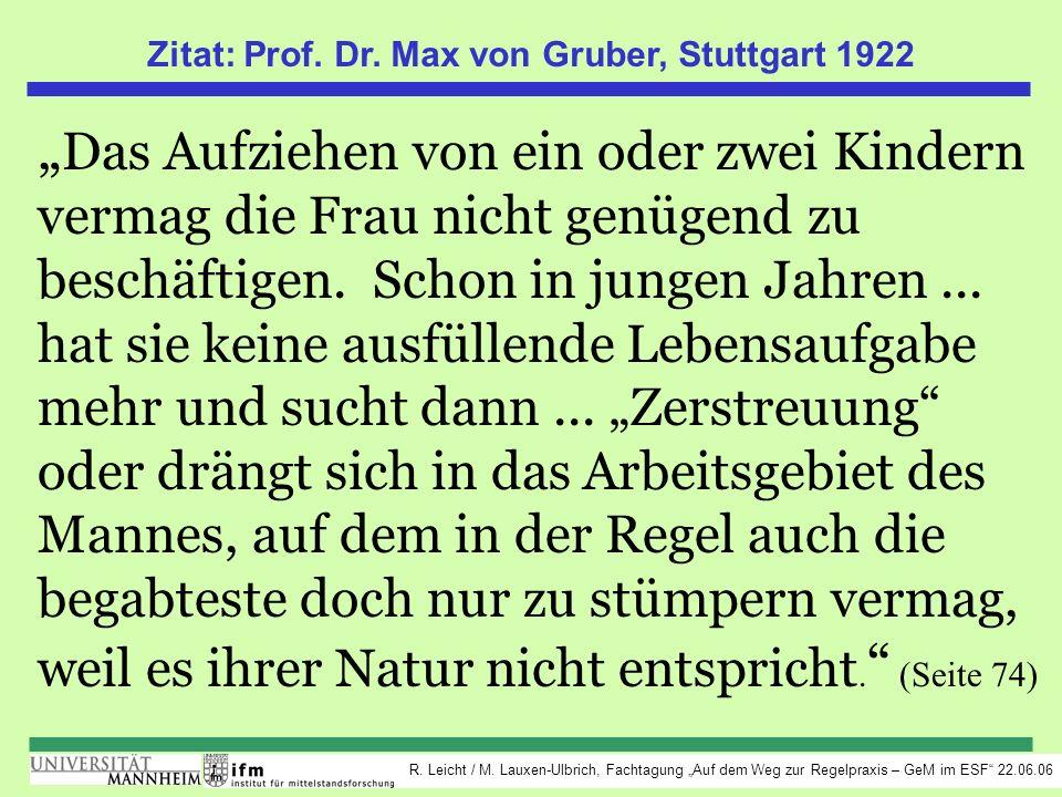 R. Leicht / M. Lauxen-Ulbrich, Fachtagung Auf dem Weg zur Regelpraxis – GeM im ESF 22.06.06 Zitat: Prof. Dr. Max von Gruber, Stuttgart 1922 Das Aufzie