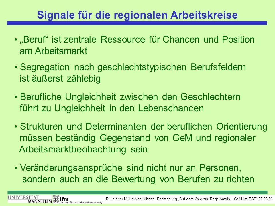 R. Leicht / M. Lauxen-Ulbrich, Fachtagung Auf dem Weg zur Regelpraxis – GeM im ESF 22.06.06 Signale für die regionalen Arbeitskreise Beruf ist zentral