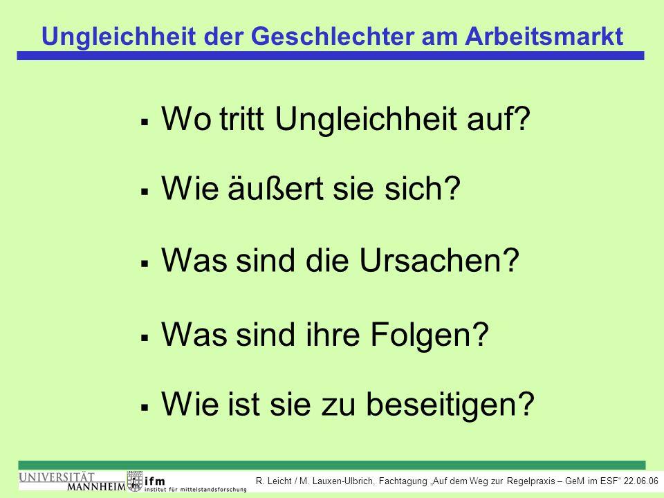 R. Leicht / M. Lauxen-Ulbrich, Fachtagung Auf dem Weg zur Regelpraxis – GeM im ESF 22.06.06 Ungleichheit der Geschlechter am Arbeitsmarkt Wo tritt Ung