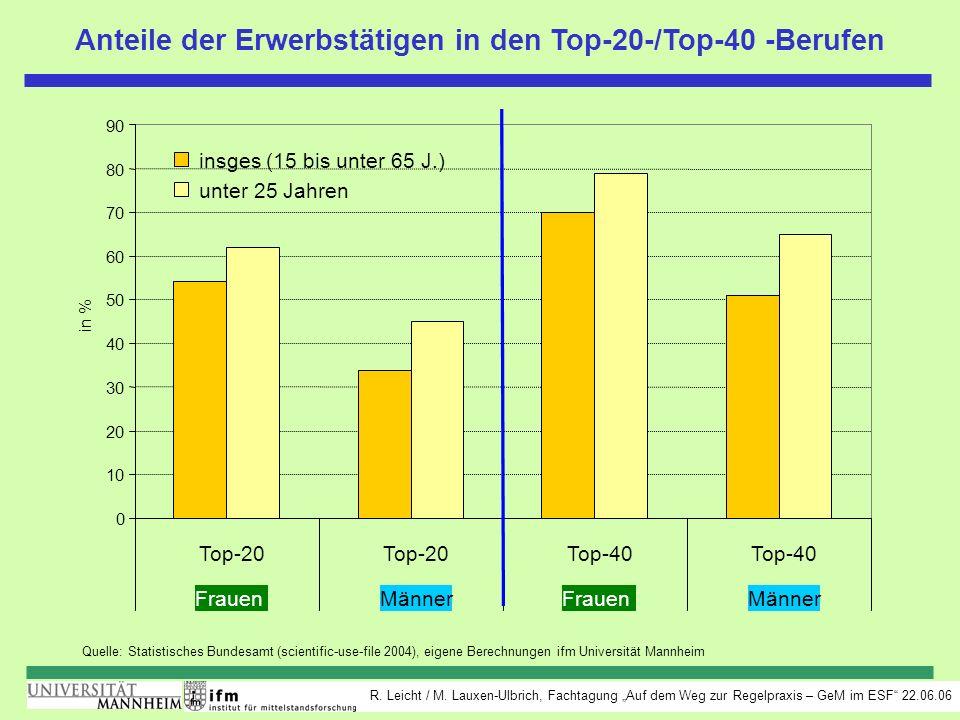 R. Leicht / M. Lauxen-Ulbrich, Fachtagung Auf dem Weg zur Regelpraxis – GeM im ESF 22.06.06 Anteile der Erwerbstätigen in den Top-20-/Top-40 -Berufen