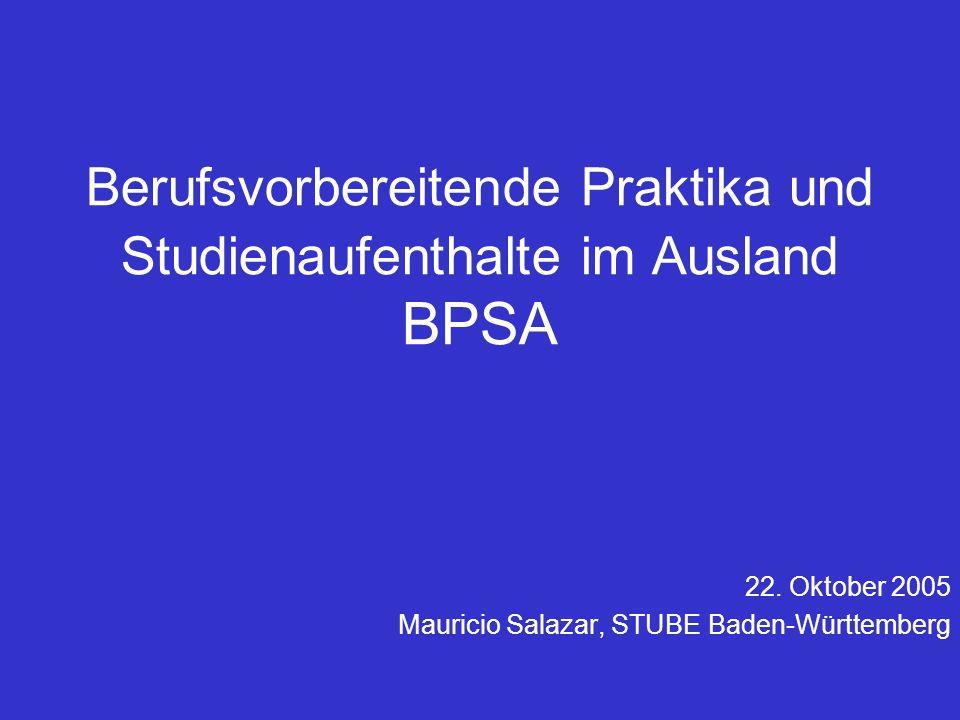 Berufsvorbereitende Praktika und Studienaufenthalte im Ausland BPSA 22.