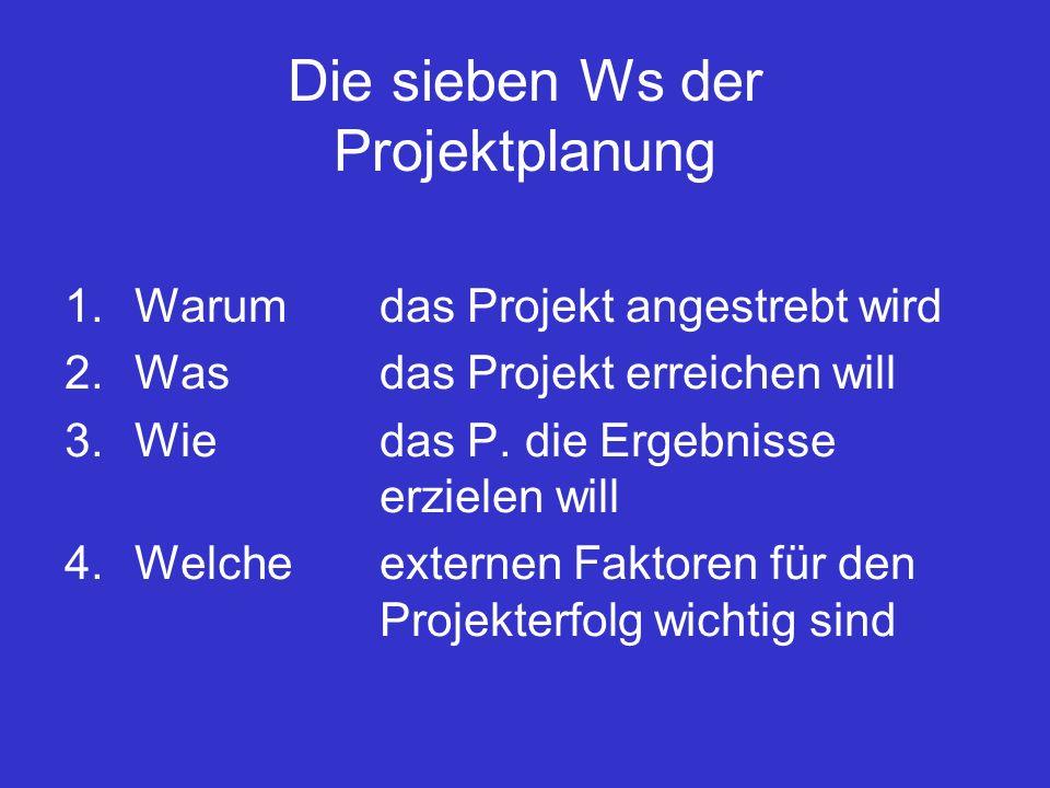 Die sieben Ws der Projektplanung 1.Warum das Projekt angestrebt wird 2.Wasdas Projekt erreichen will 3.Wiedas P.