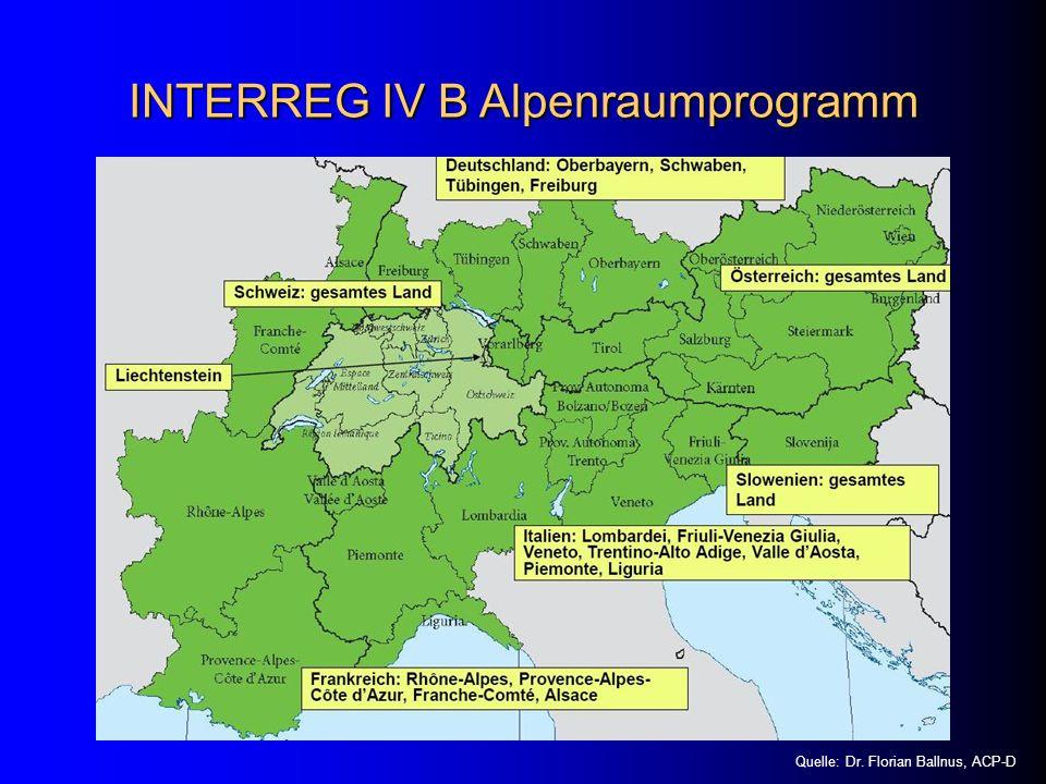INTERREG IV B Alpenraumprogramm Quelle: Dr. Florian Ballnus, ACP-D