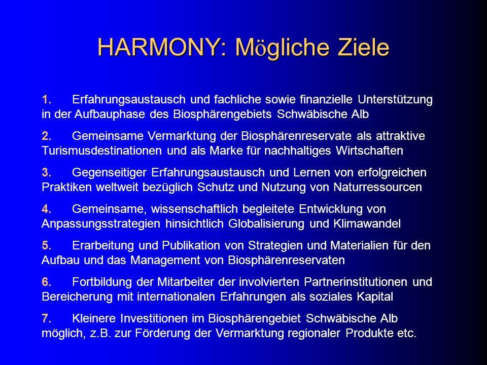 HARMONY: M ö gliche Ziele 1. Erfahrungsaustausch und fachliche sowie finanzielle Unterstützung in der Aufbauphase des Biosphärengebiets Schwäbische Al