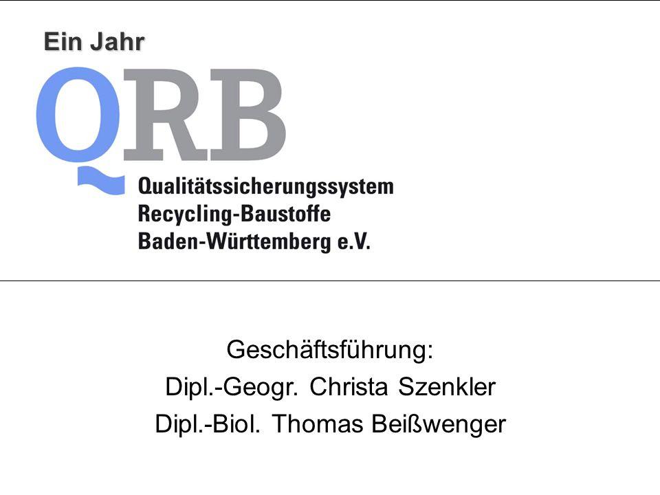 Geschäftsführung: Dipl.-Geogr. Christa Szenkler Dipl.-Biol. Thomas Beißwenger Ein Jahr