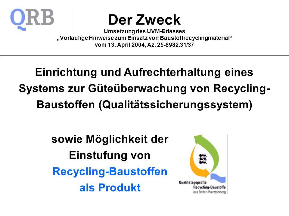 Der Zweck Umsetzung des UVM-Erlasses Vorläufige Hinweise zum Einsatz von Baustoffrecyclingmaterial vom 13. April 2004, Az. 25-8982.31/37 Einrichtung u