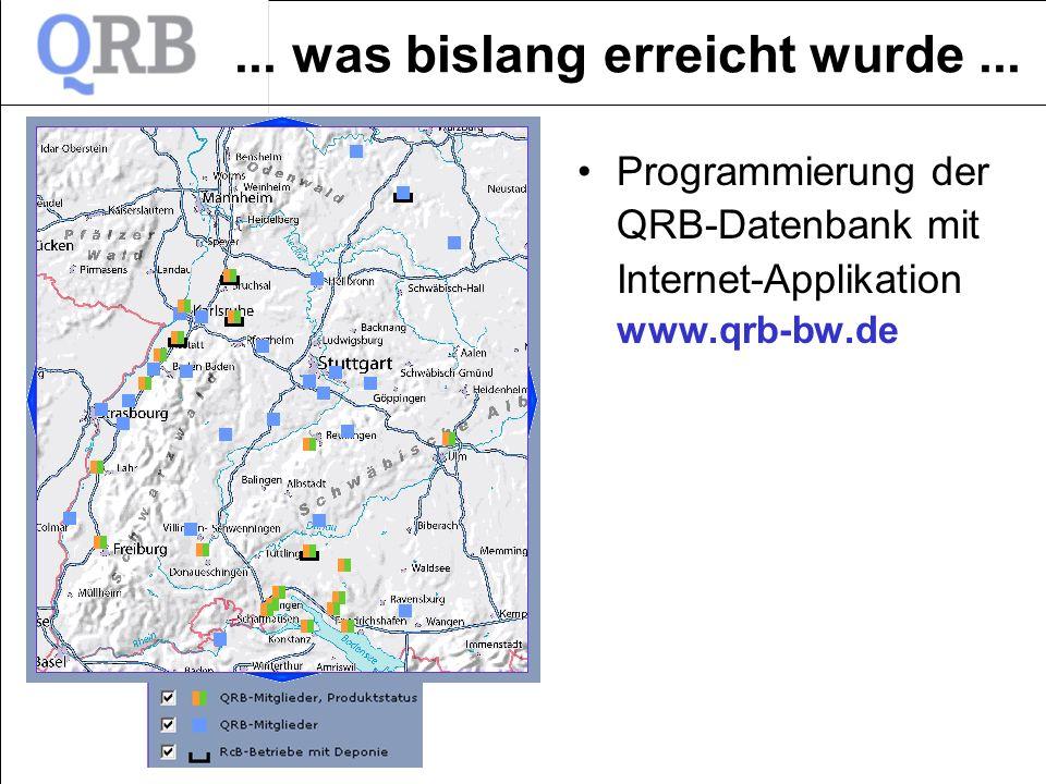 ... was bislang erreicht wurde... Programmierung der QRB-Datenbank mit Internet-Applikation www.qrb-bw.de