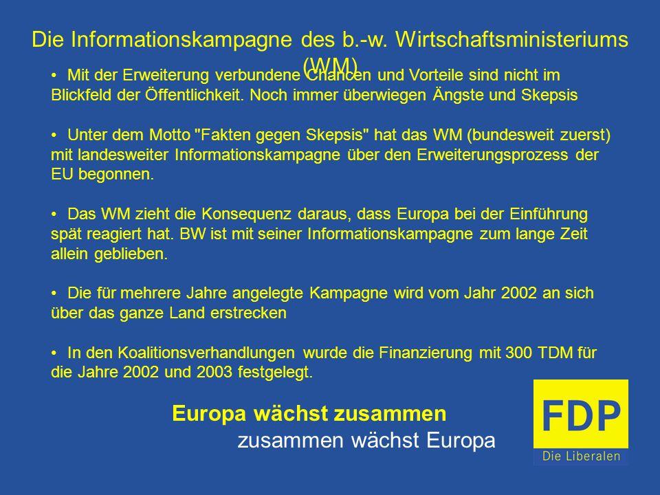 Die Informationskampagne des b.-w. Wirtschaftsministeriums (WM) Mit der Erweiterung verbundene Chancen und Vorteile sind nicht im Blickfeld der Öffent