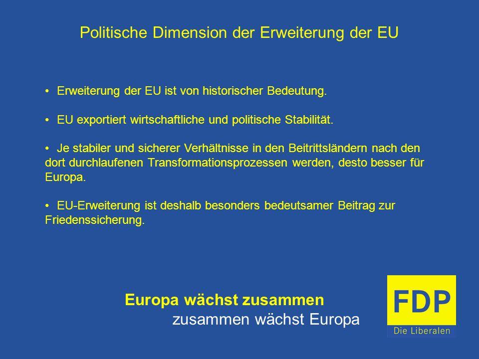 Politische Dimension der Erweiterung der EU Erweiterung der EU ist von historischer Bedeutung. EU exportiert wirtschaftliche und politische Stabilität