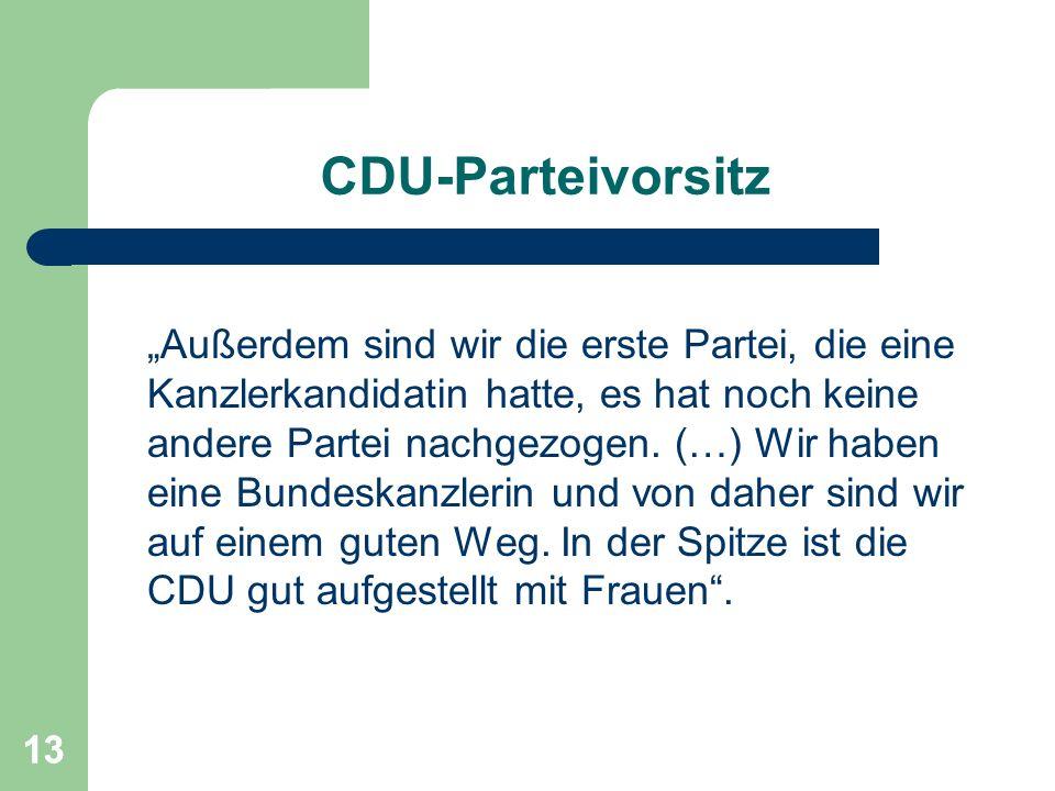 13 CDU-Parteivorsitz Außerdem sind wir die erste Partei, die eine Kanzlerkandidatin hatte, es hat noch keine andere Partei nachgezogen. (…) Wir haben
