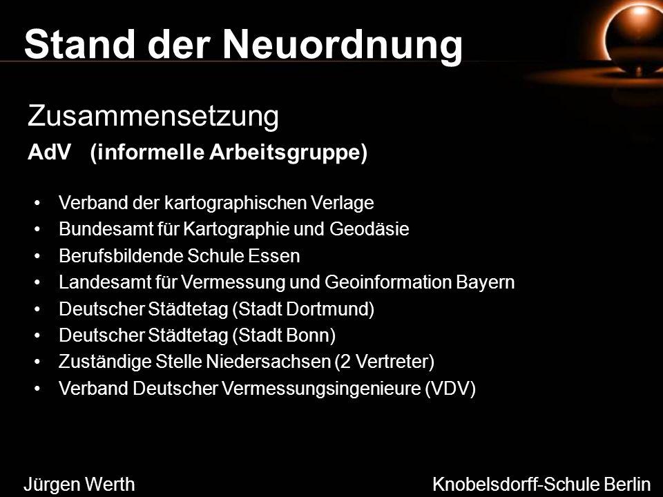 Stand der Neuordnung Zusammensetzung AdV (informelle Arbeitsgruppe) Jürgen Werth Knobelsdorff-Schule Berlin Verband der kartographischen Verlage Bunde