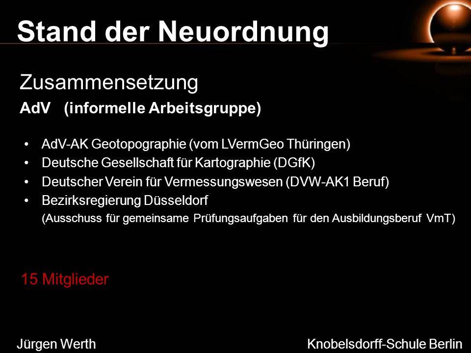 Stand der Neuordnung Zusammensetzung AdV (informelle Arbeitsgruppe) Jürgen Werth Knobelsdorff-Schule Berlin AdV-AK Geotopographie (vom LVermGeo Thürin