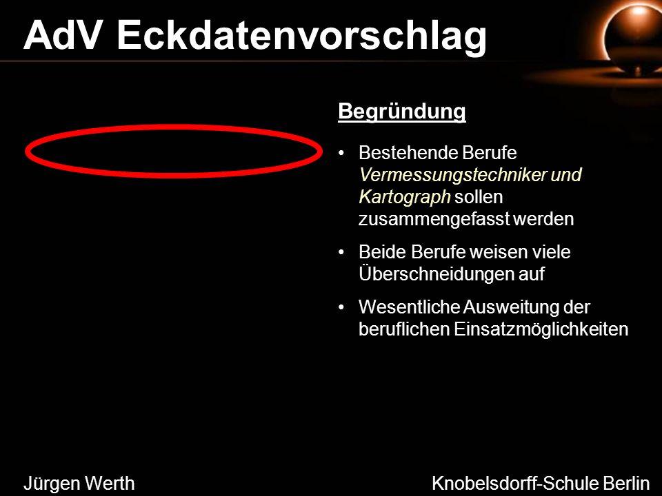 Jürgen Werth Knobelsdorff-Schule Berlin AdV Eckdatenvorschlag Bestehende Berufe Vermessungstechniker und Kartograph sollen zusammengefasst werden Beid