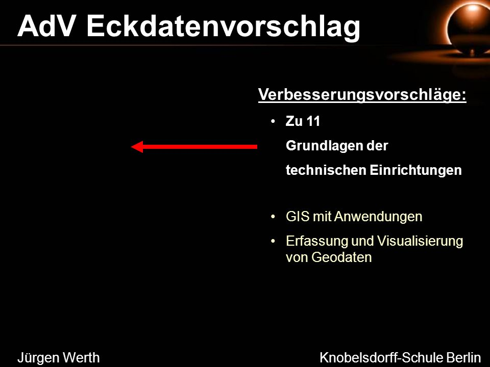 Jürgen Werth Knobelsdorff-Schule Berlin AdV Eckdatenvorschlag Zu 11 Grundlagen der technischen Einrichtungen GIS mit Anwendungen Erfassung und Visuali