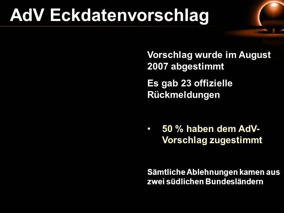 AdV Eckdatenvorschlag Vorschlag wurde im August 2007 abgestimmt Es gab 23 offizielle Rückmeldungen 50 % haben dem AdV- Vorschlag zugestimmt Sämtliche
