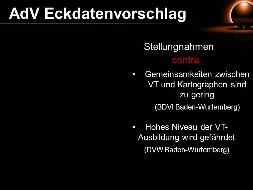 Stellungnahmen contra Gemeinsamkeiten zwischen VT und Kartographen sind zu gering (BDVI Baden-Würtemberg) Hohes Niveau der VT- Ausbildung wird gefährd