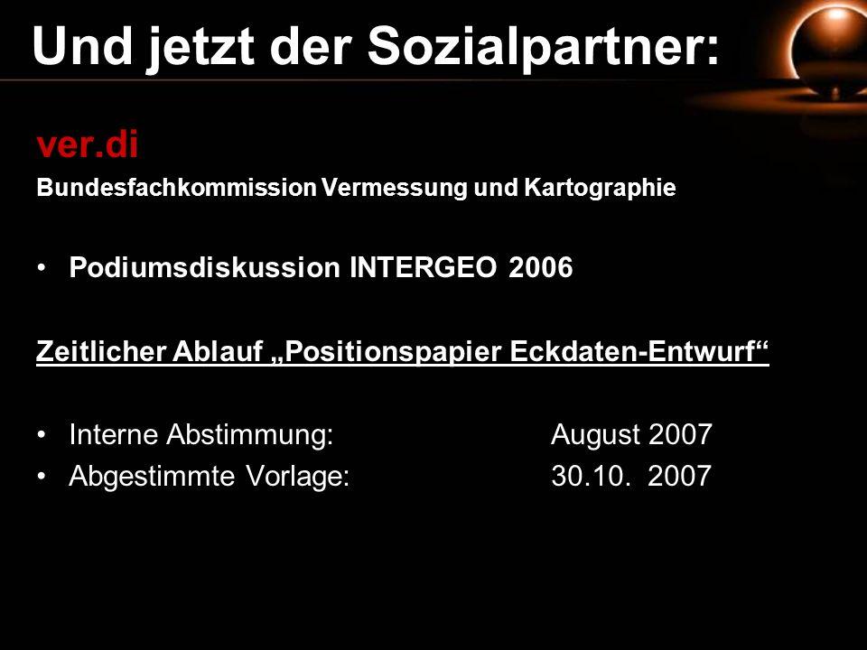 Und jetzt der Sozialpartner: ver.di Bundesfachkommission Vermessung und Kartographie Podiumsdiskussion INTERGEO 2006 Zeitlicher Ablauf Positionspapier