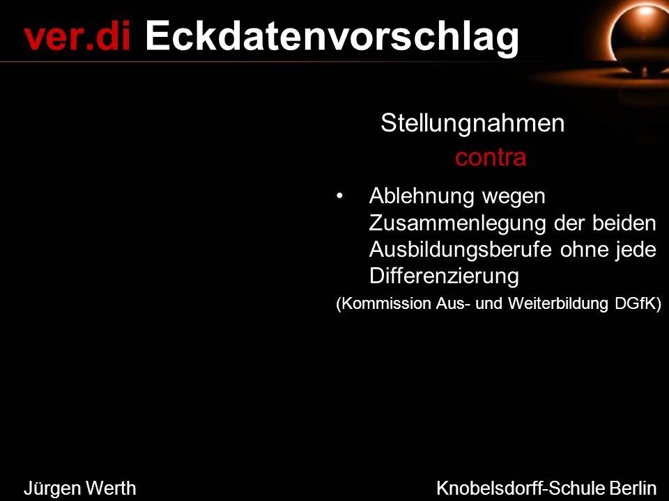 Jürgen Werth Knobelsdorff-Schule Berlin ver.di Eckdatenvorschlag Stellungnahmen contra Ablehnung wegen Zusammenlegung der beiden Ausbildungsberufe ohn